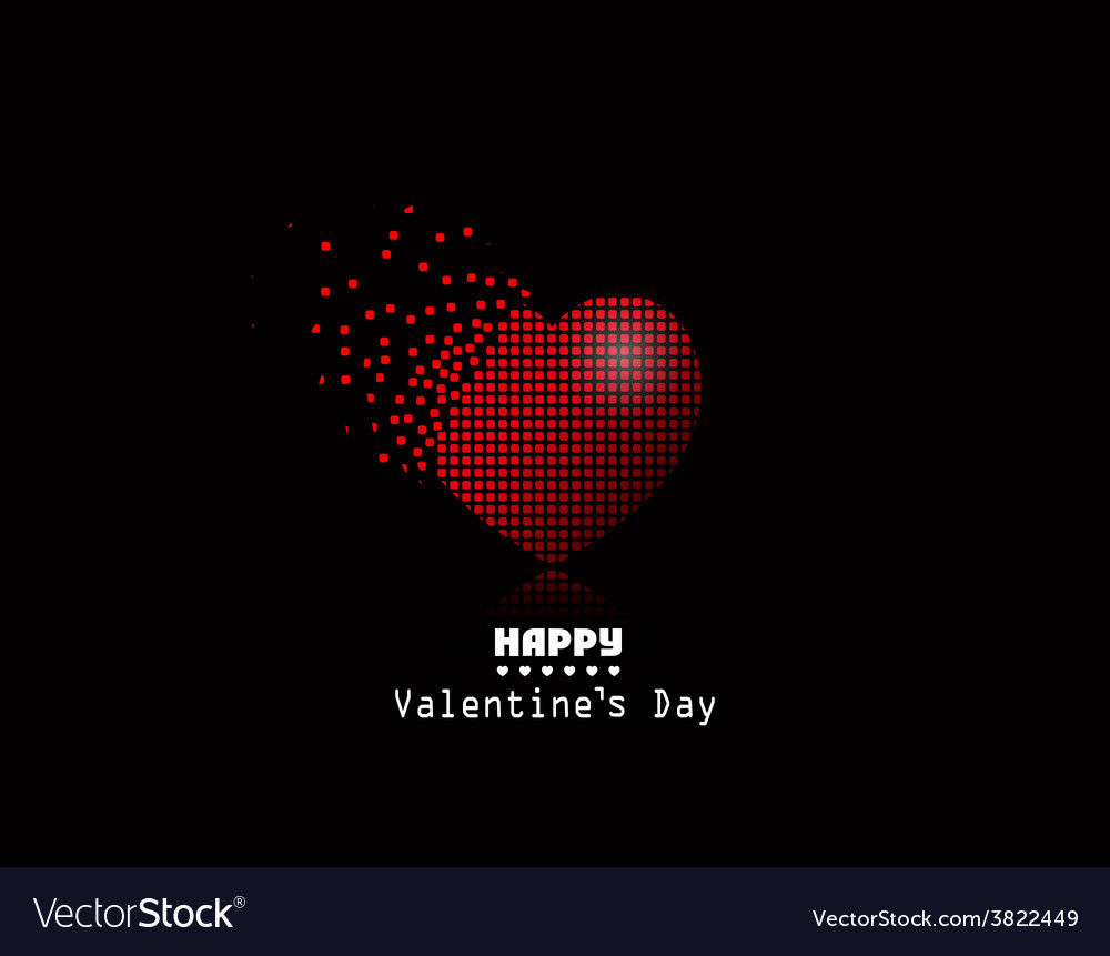 Pixel heart Valentine Day background vector image