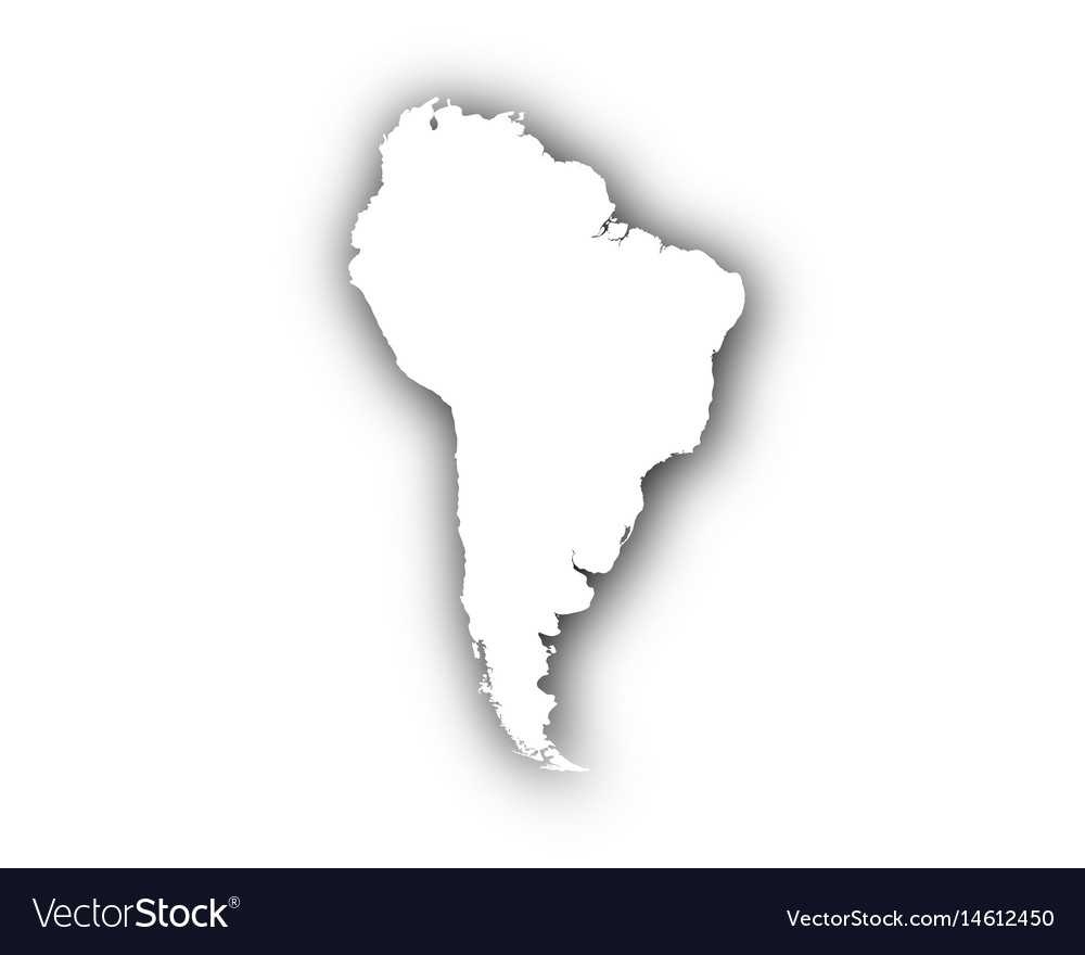 Map of south america with shadow vector image