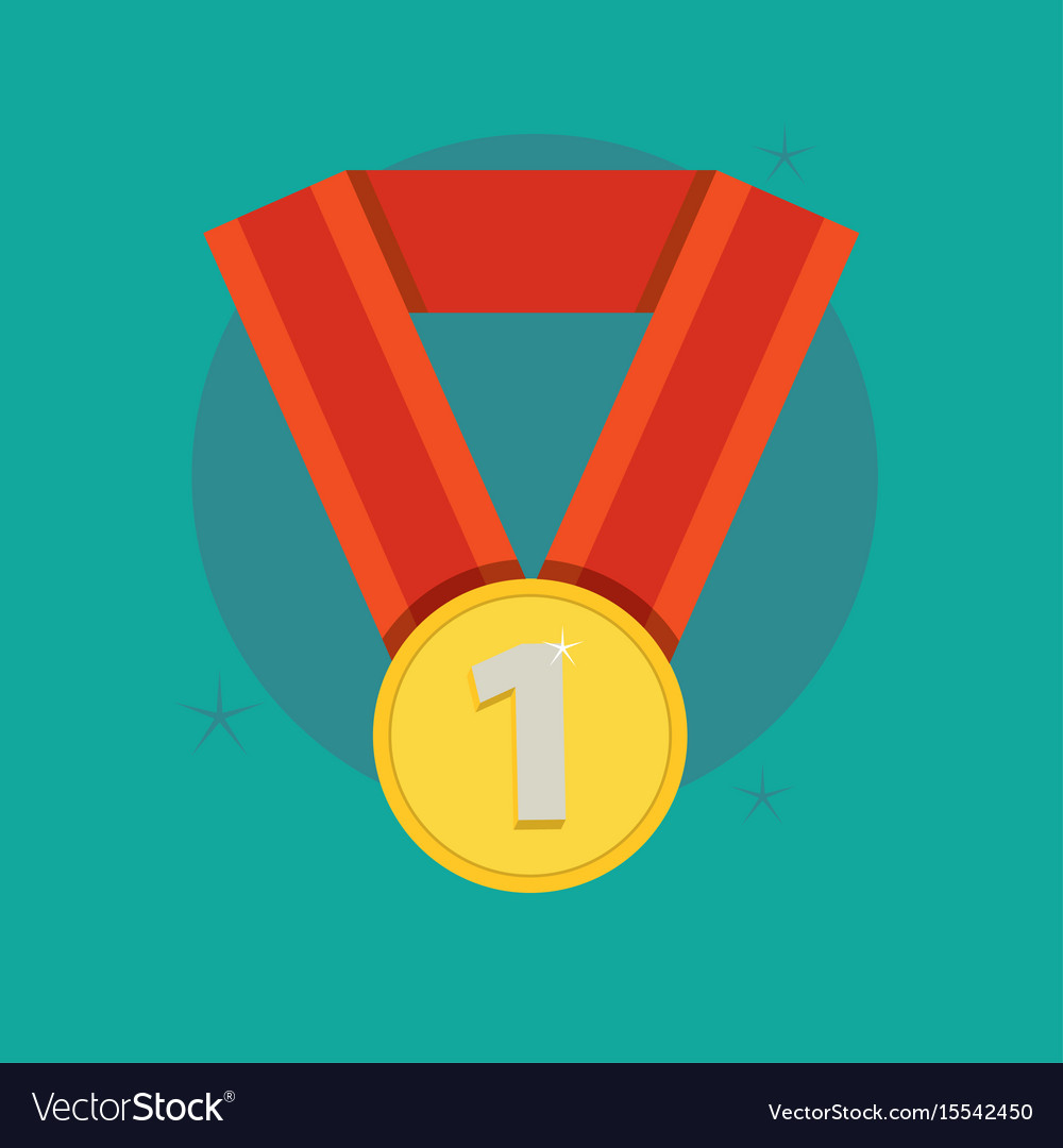 Medal award winner trophy flat vector image