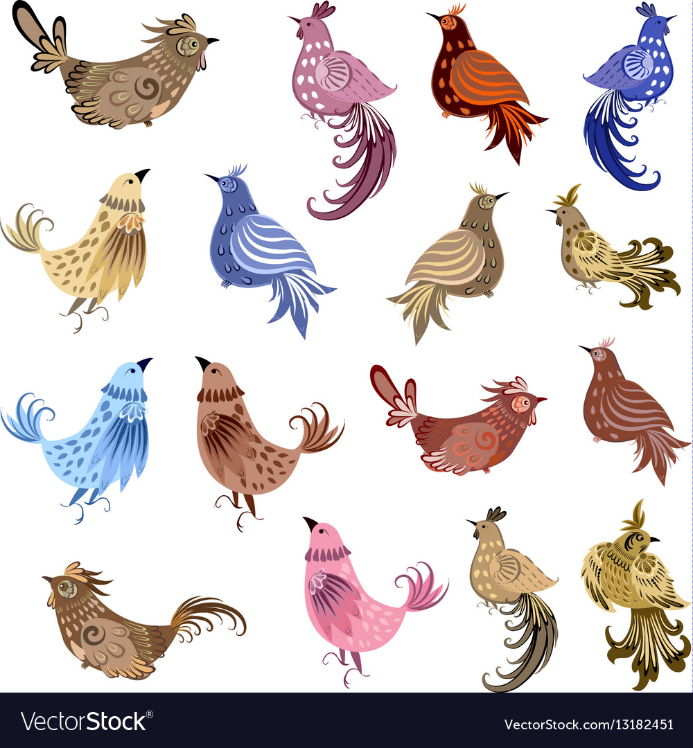 Fine collection of fancy decoration birds for your vector image