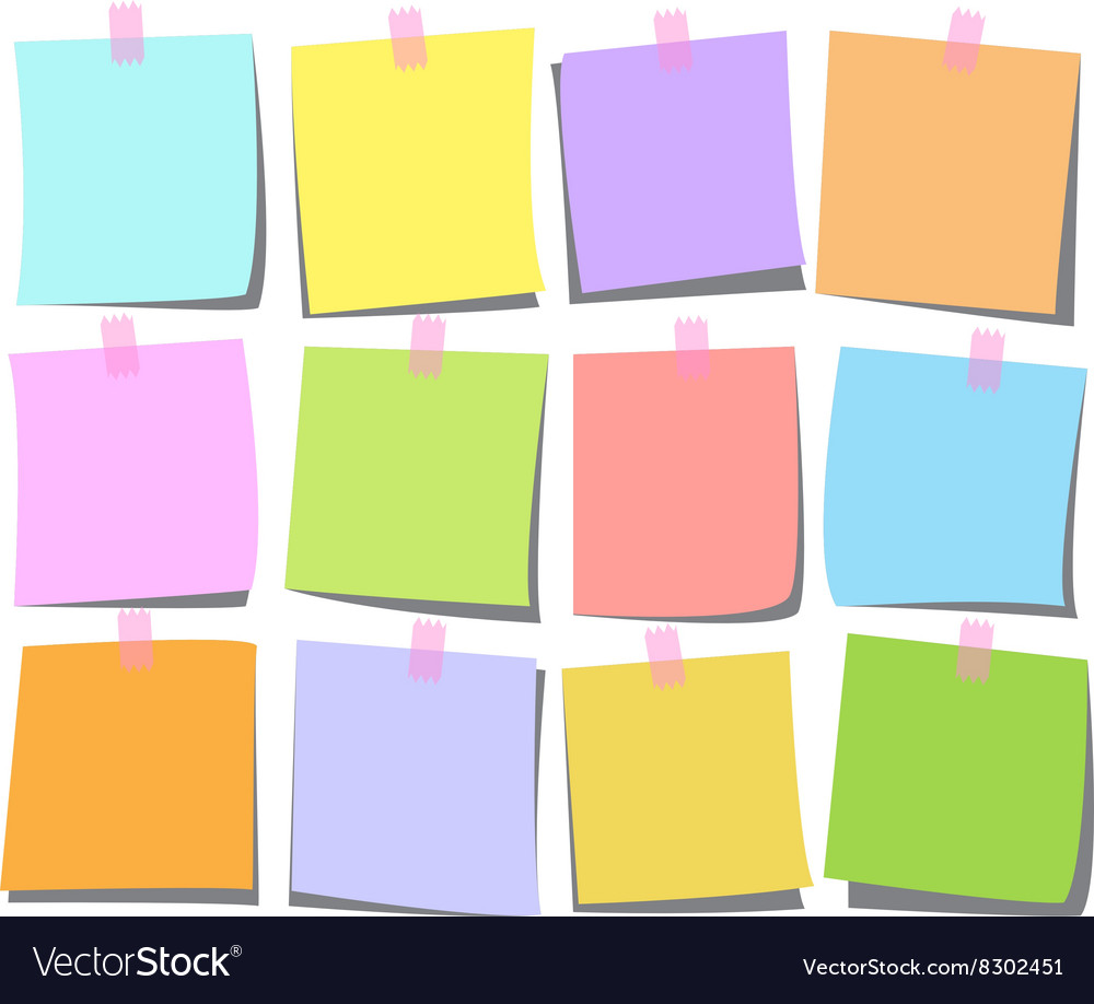 Note page set heart vector image