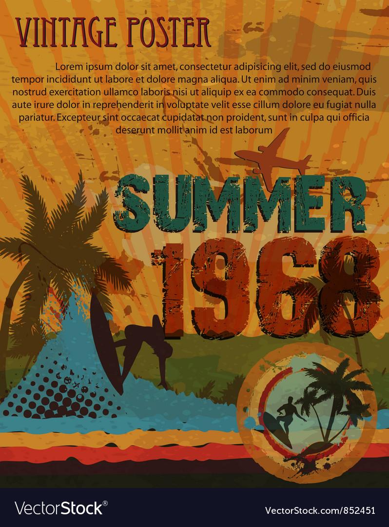 Retro grunge summer poster vector image