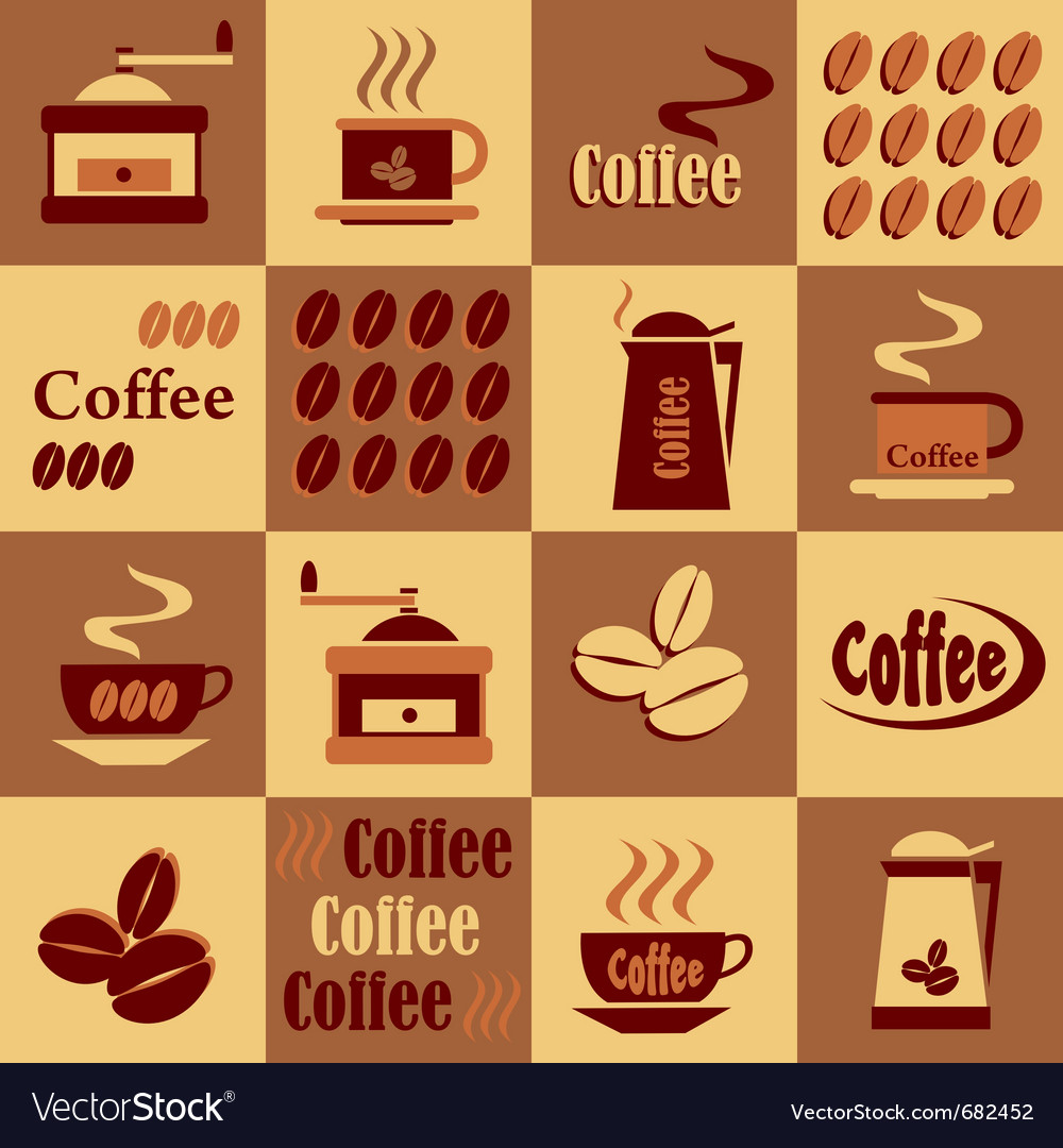 Background with coffee icons vector image
