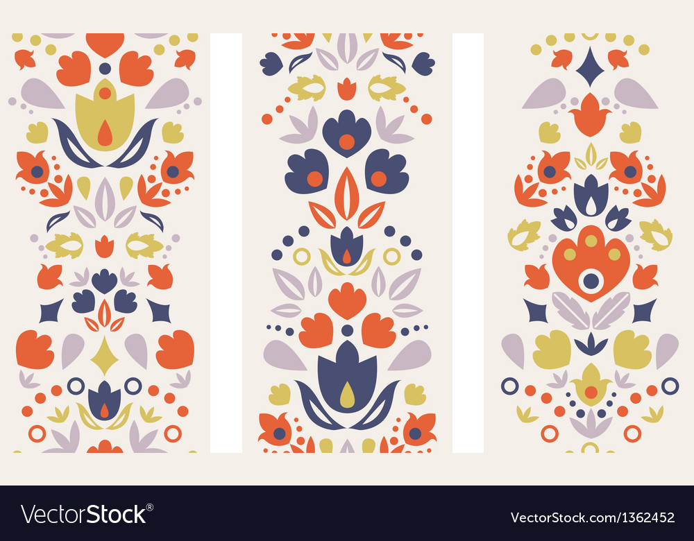 Three ornamental folk tulips vertical seamless vector image