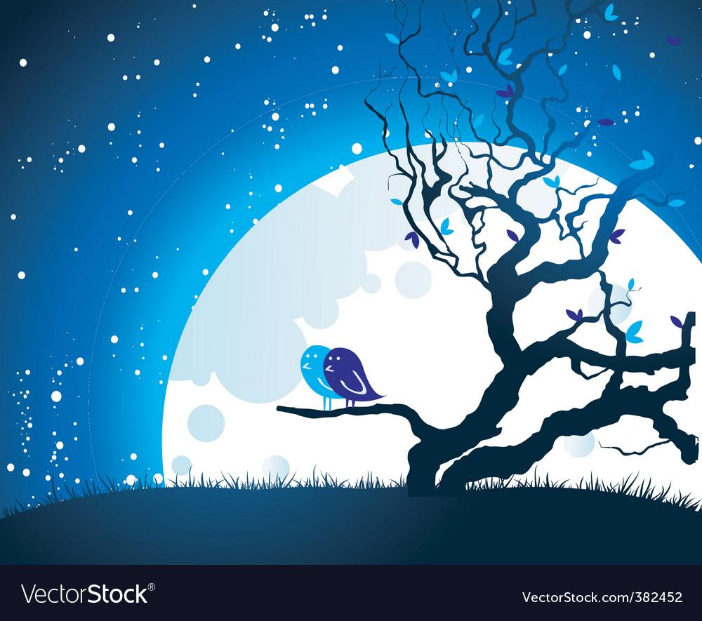 Tree moon vector image