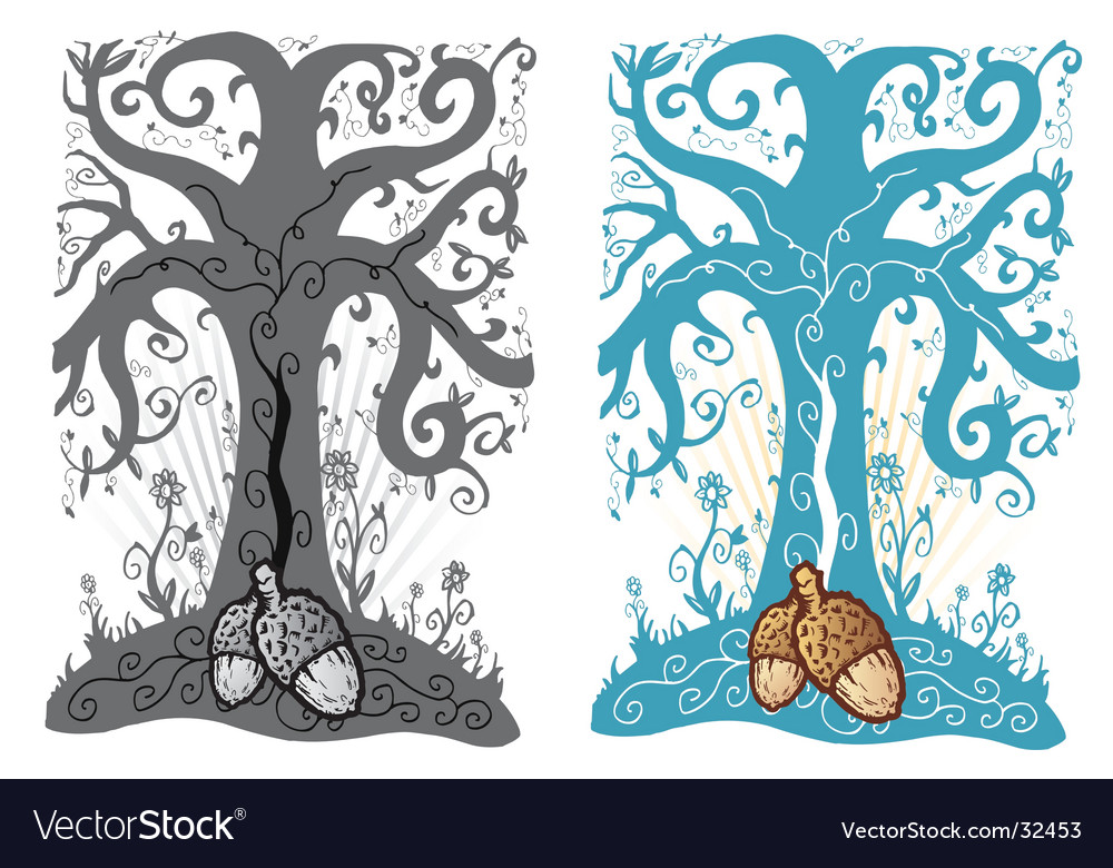 Acorn tattoo vector image