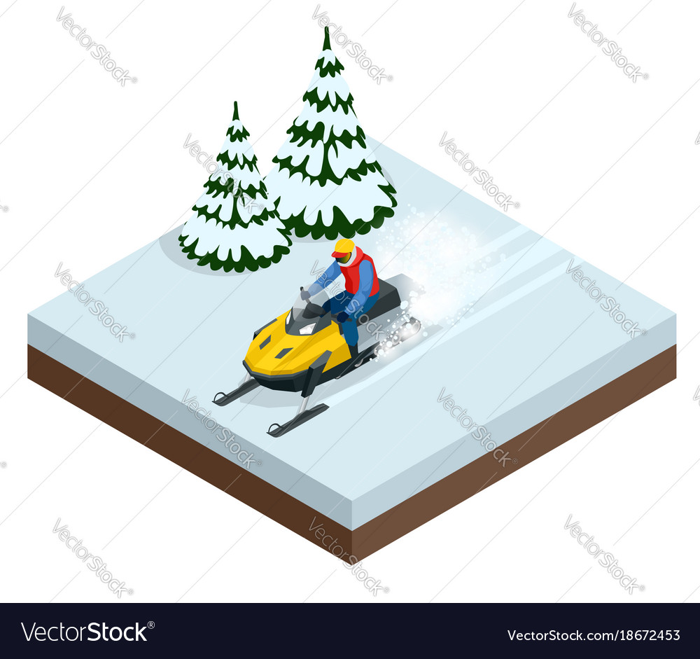 Man driving sports snowmobile in a sunny day vector image