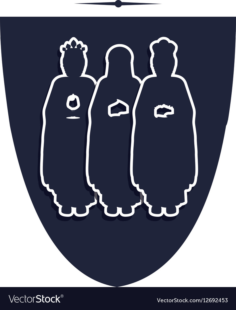 Silhouette shield with the wise men vector image
