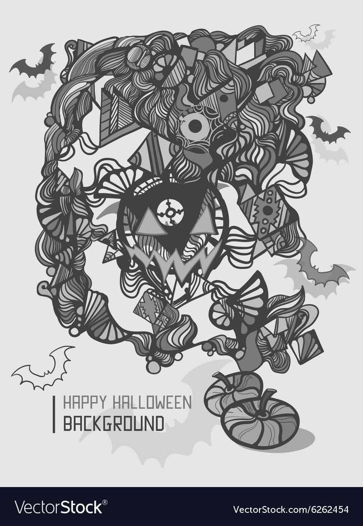 Cute doodles cartoon Happy Halloween hand drawn vector image