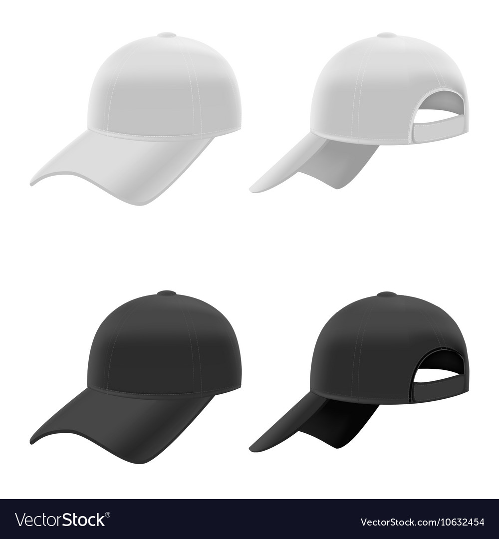 Realistic Black and White Baseball Cap Set vector image