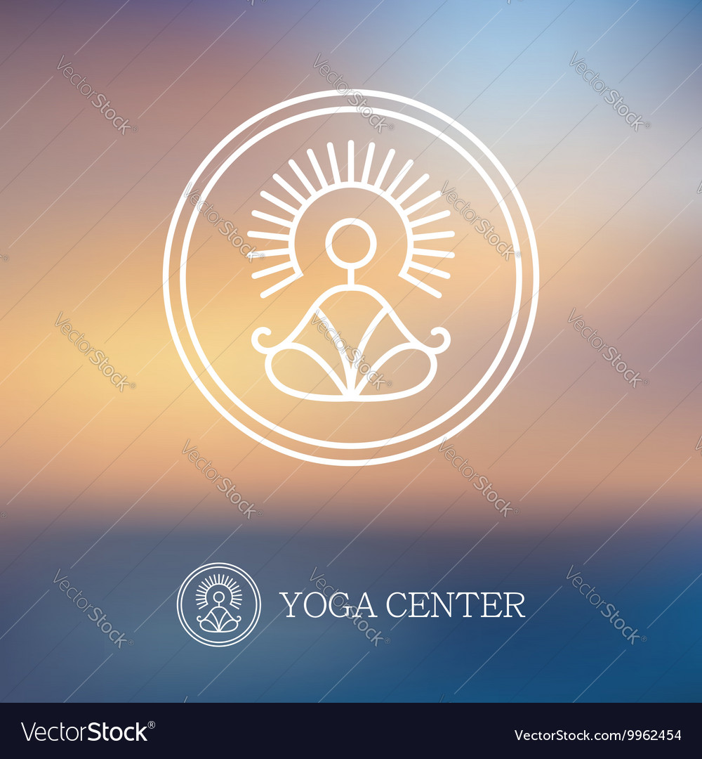 Round linear yoga logo vector image