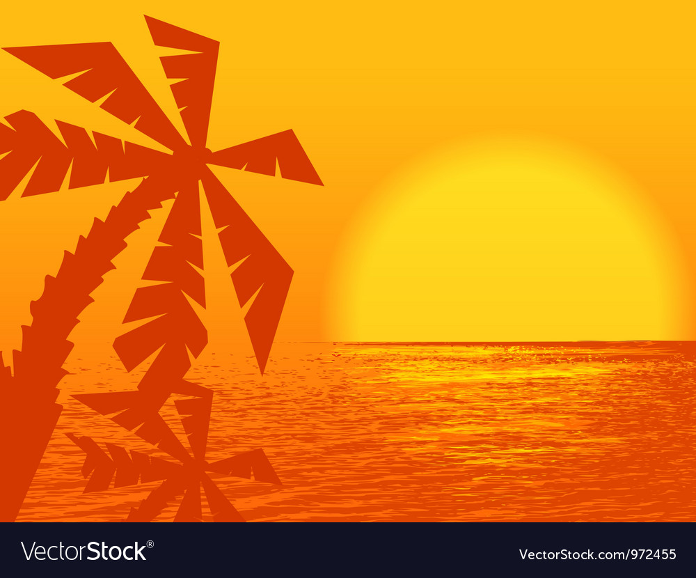 Sunset at the ocean vector image