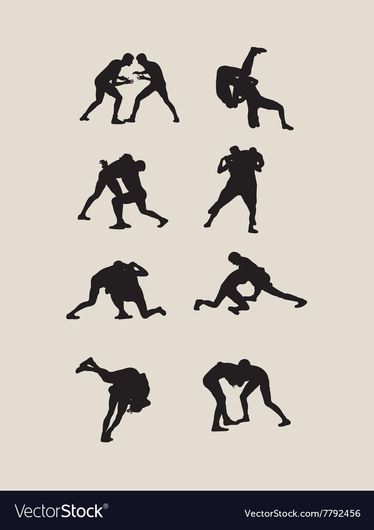 Wrestlers fighting vector image