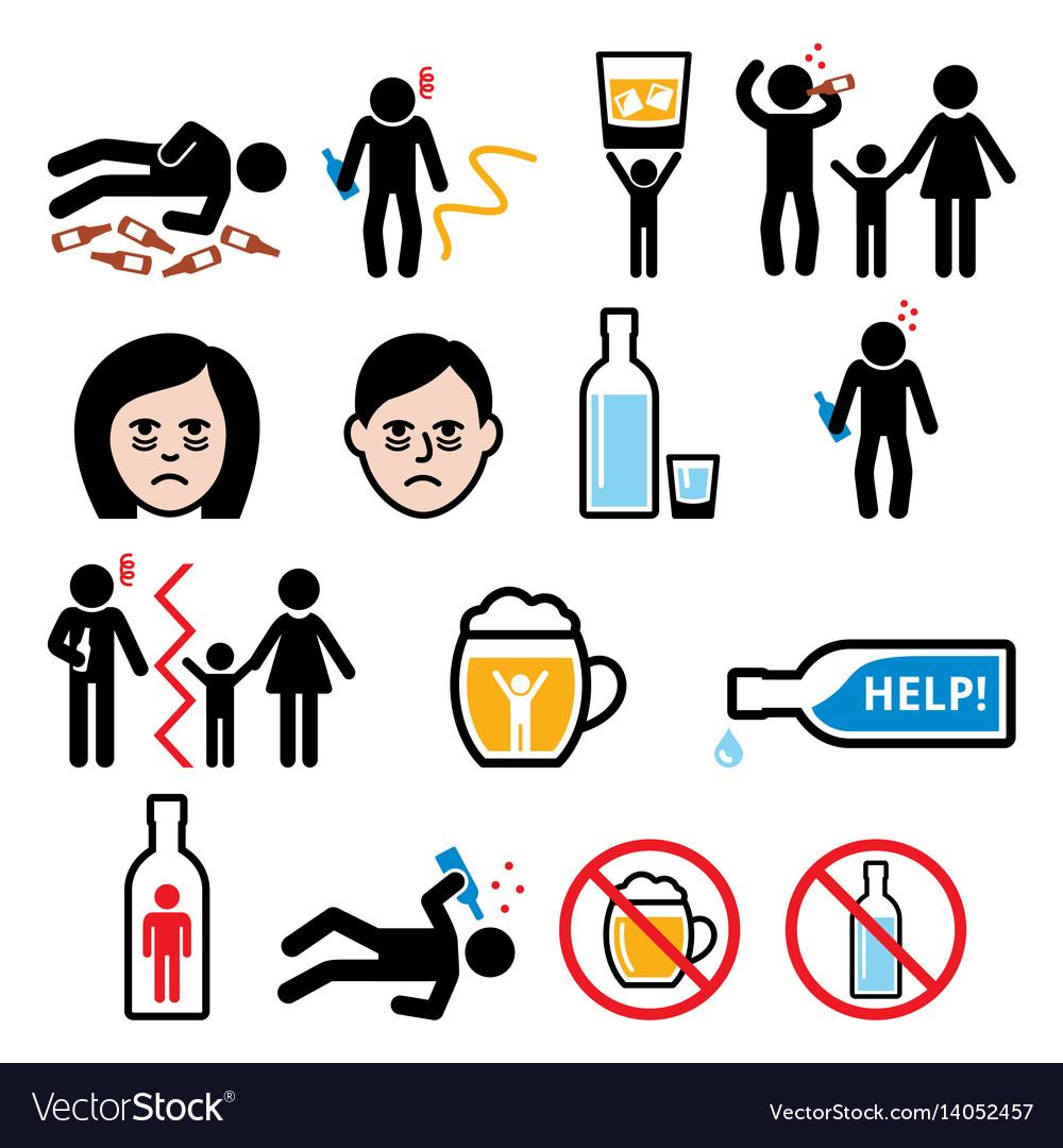 Alcoholism drunk man alcohol addiction icons vector image