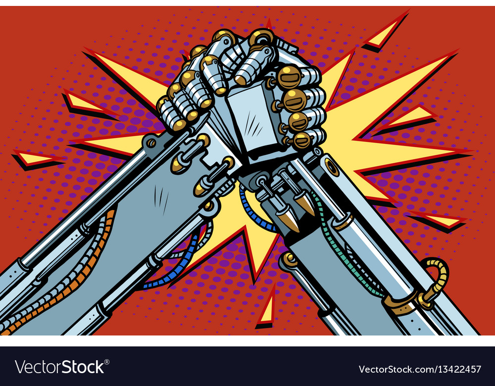 Fighting robots arm wrestling fight confrontation vector image