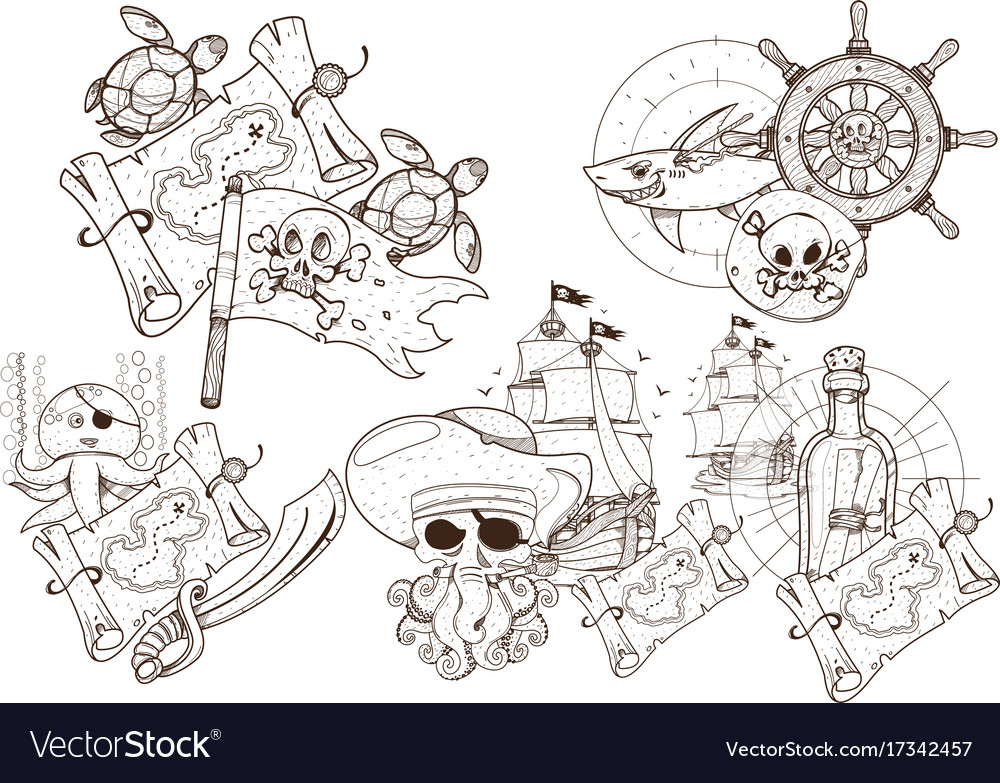 Set of black and white for coloring outline of vector image