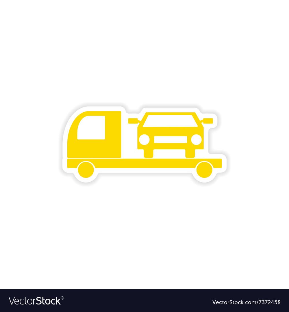 Icon sticker realistic design on paper tow truck