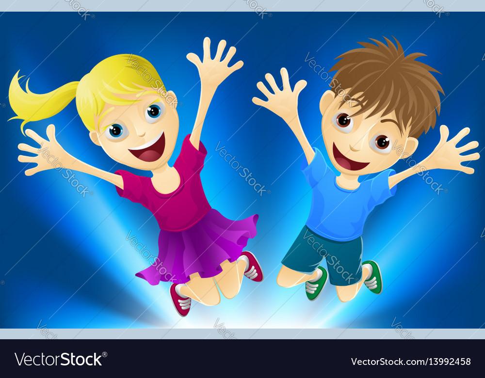 Happy children jumping for joy vector image
