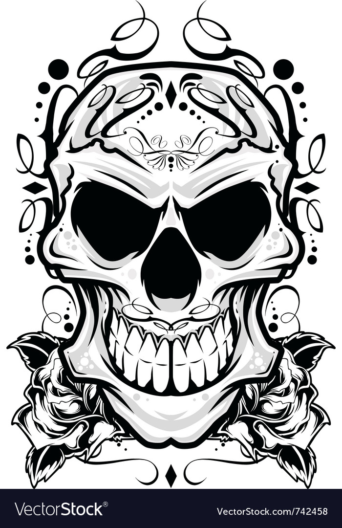 Skull ornament vector image