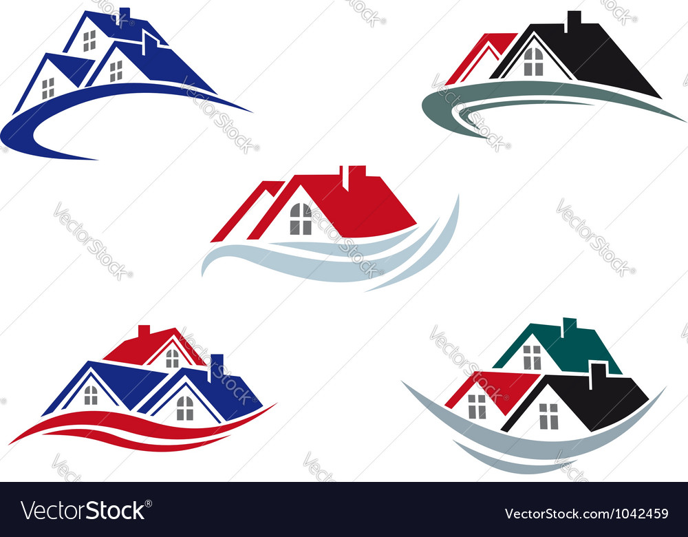 House roofs set for real estate business vector image