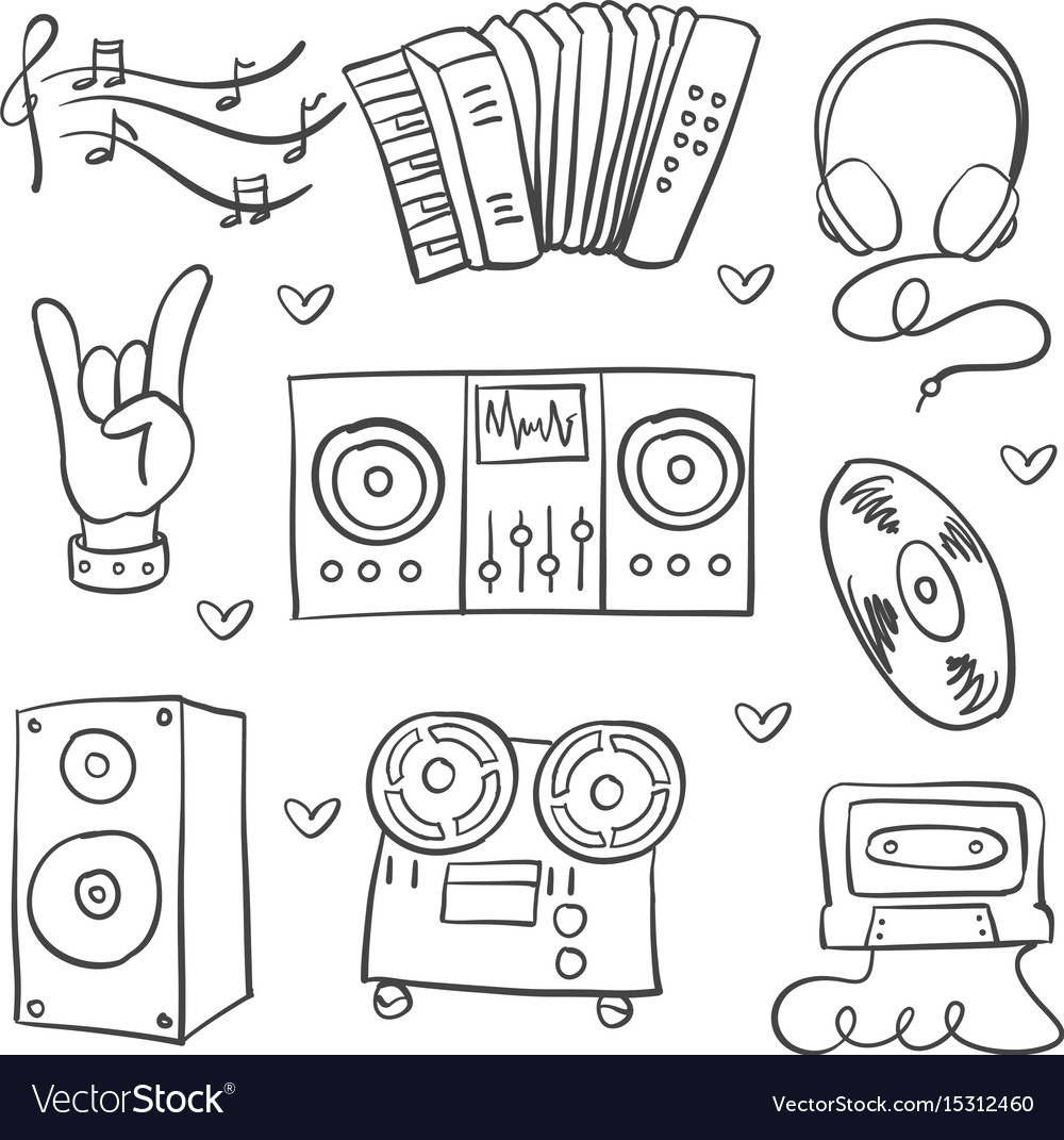 Collection stock music theme doodles vector image
