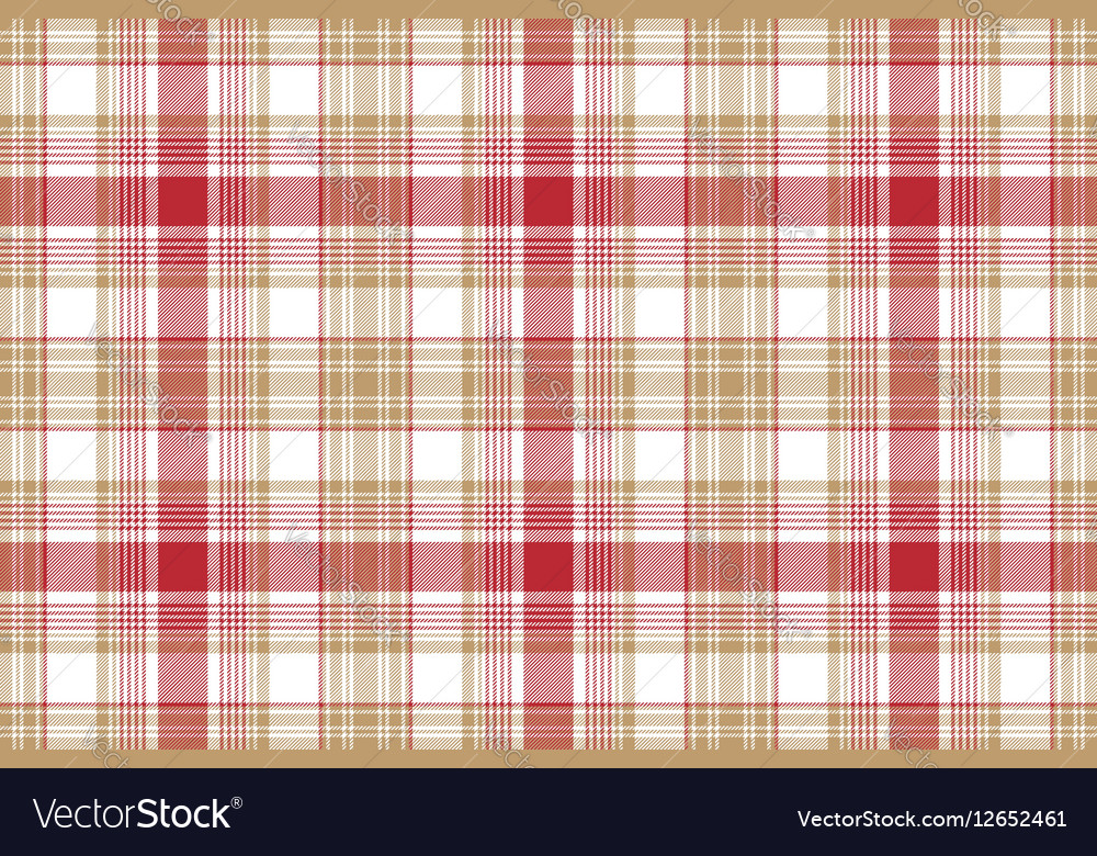 Beige red white fabric texture seamless background vector image