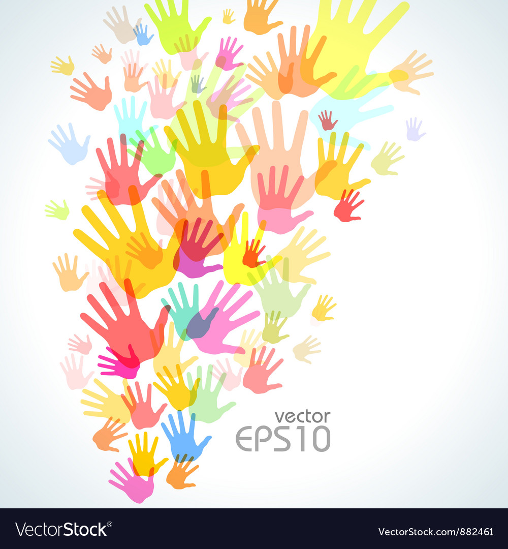 Colorful hand print background vector image