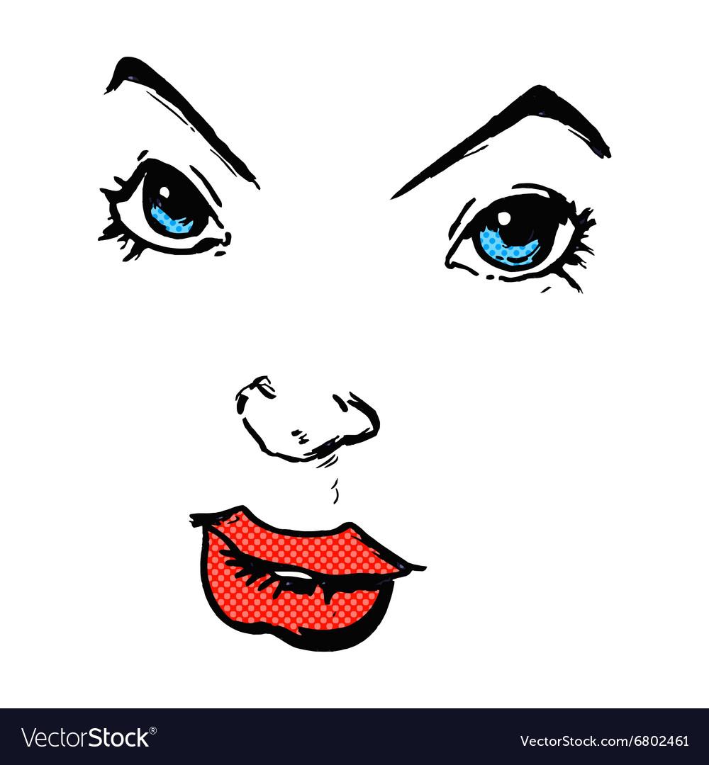 Comic cartoon comic book face vector image