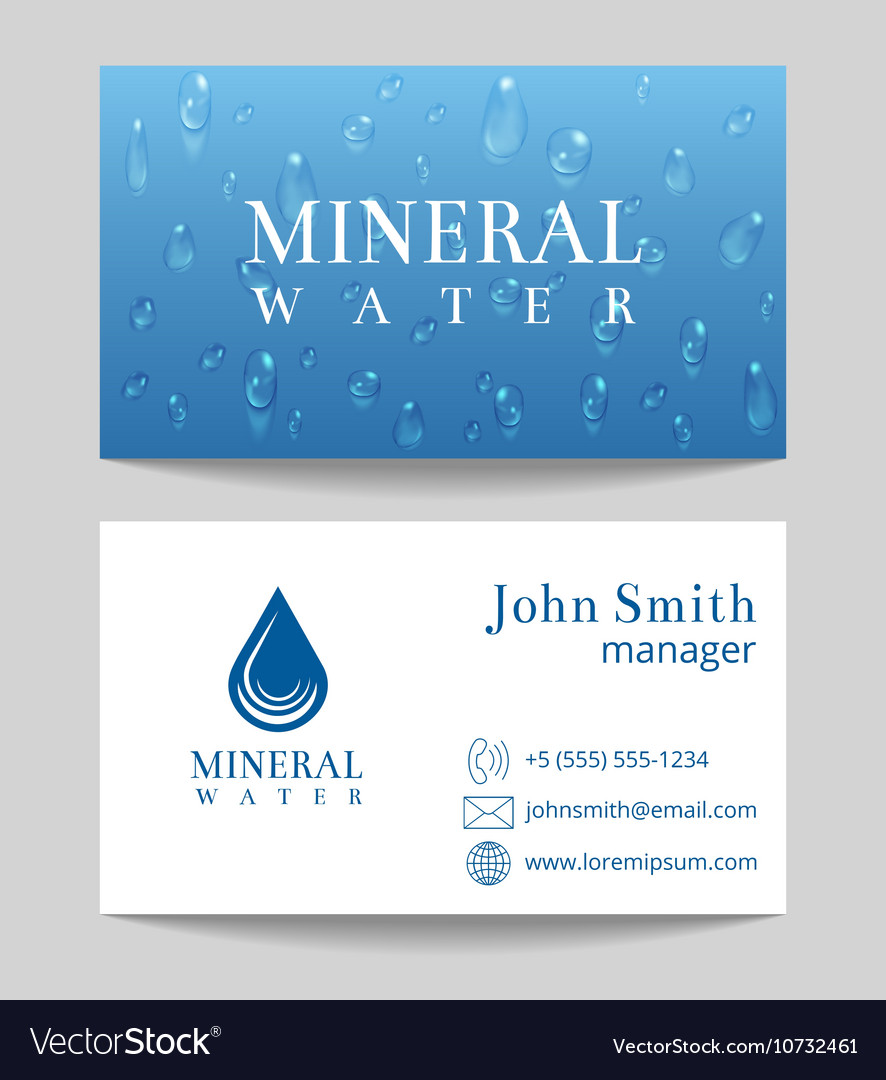 Mineral water delivery business card template vector image colourmoves Choice Image
