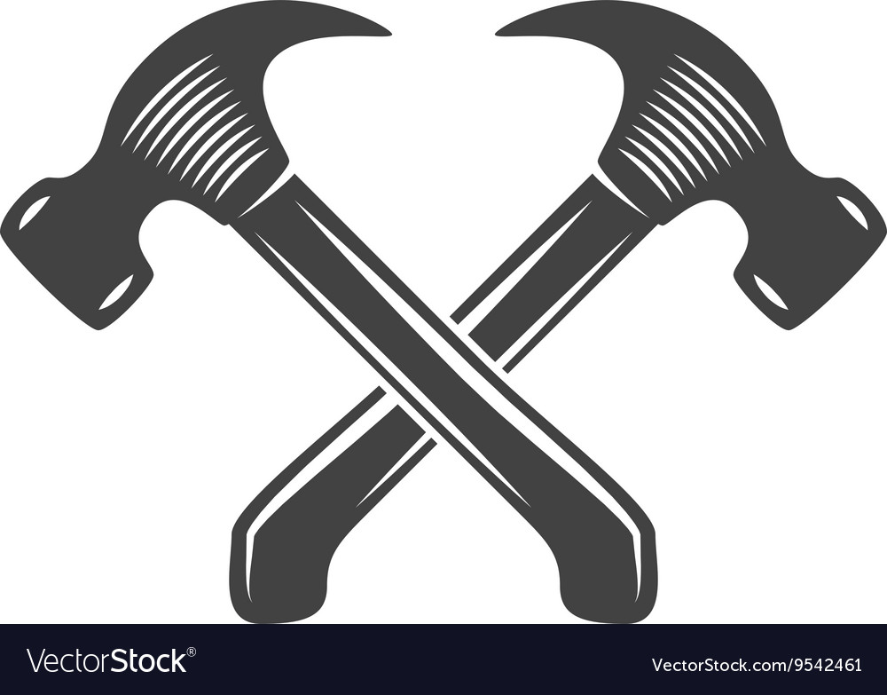 Two crossed hammers Logo elements Black and white vector image