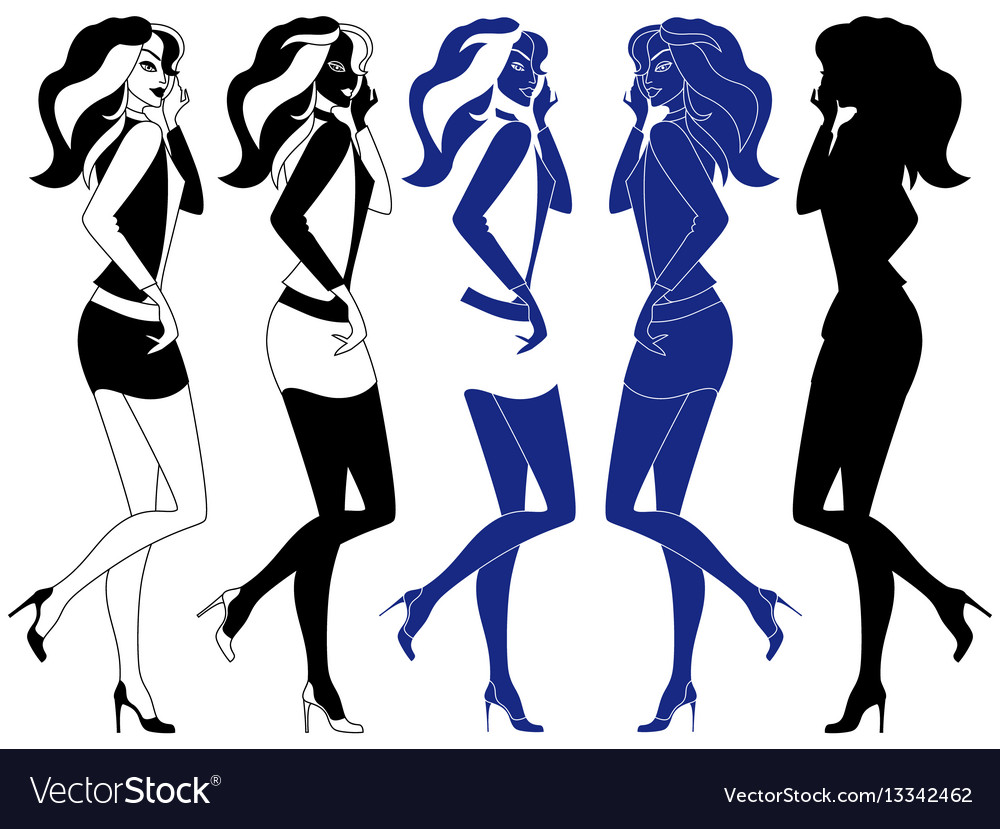 Girls with luxurious hair vector image