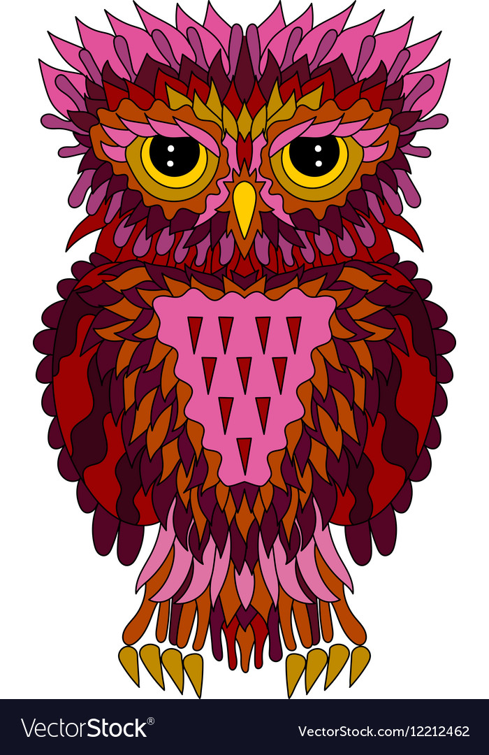 In zentangle style with owl vector image