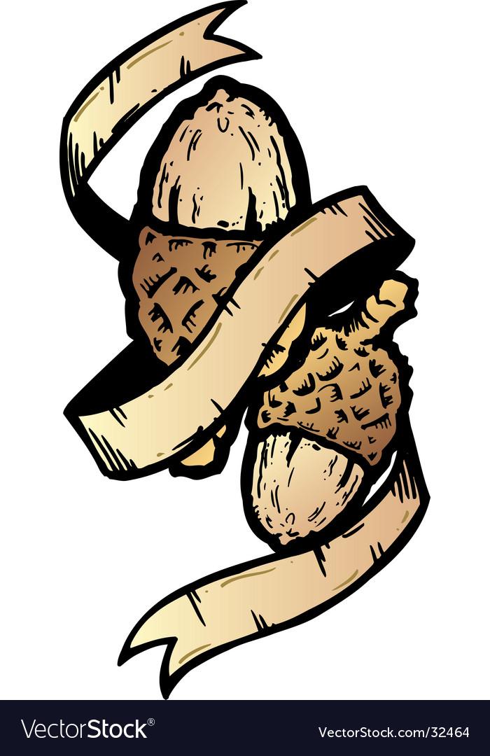 Acorn banner tattoo style illustration vector image