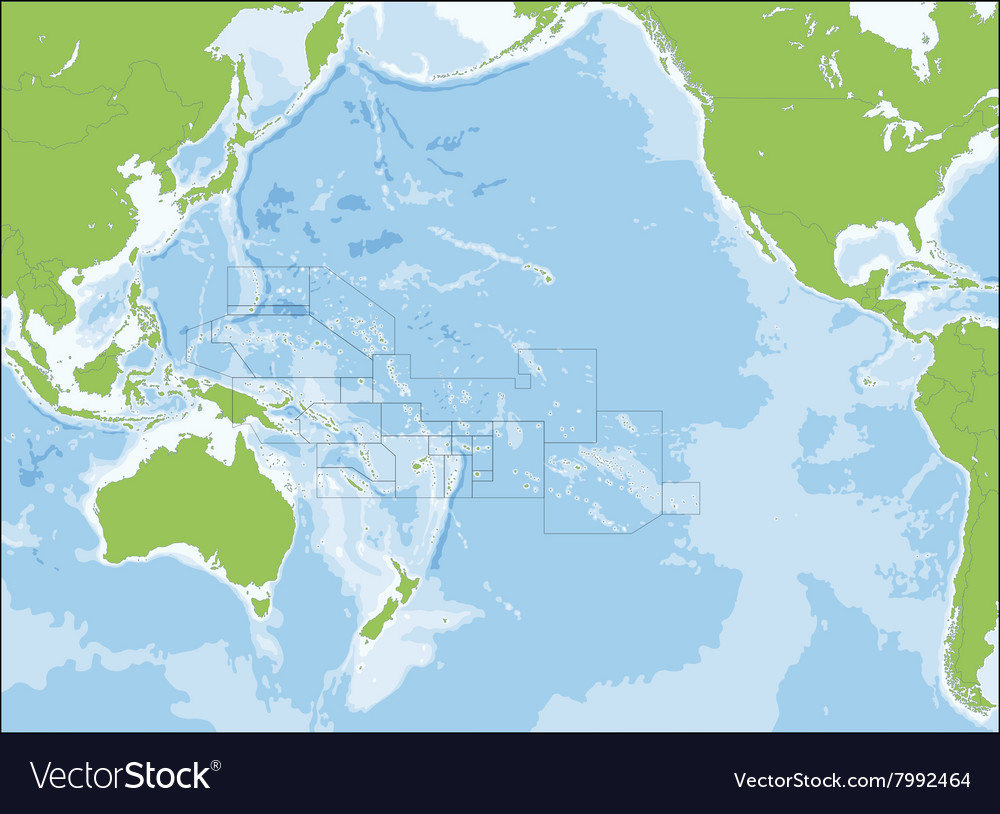 Map of Oceania vector image