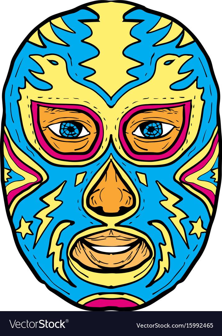 Luchador mask eagle lightning bolt drawing vector image