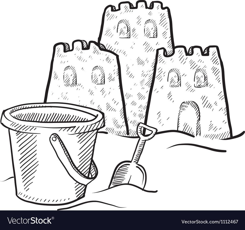 Doodle sand castles bucket Vector Image
