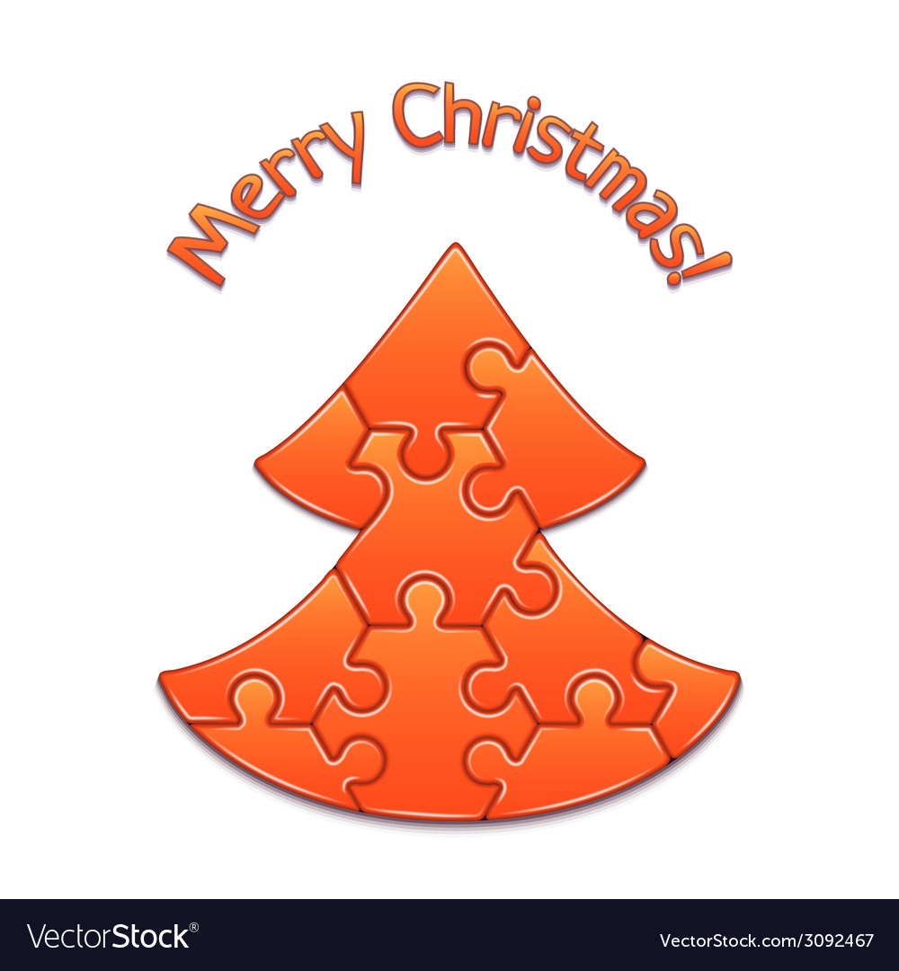 Christmas Tree Maded From Puzzles Vector Image