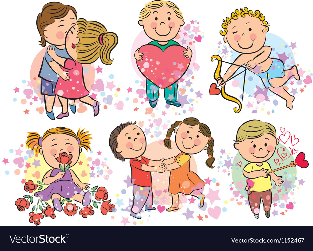 Kids with love vector image