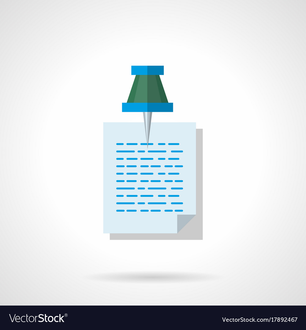 Note with pushpin flat color icon vector image
