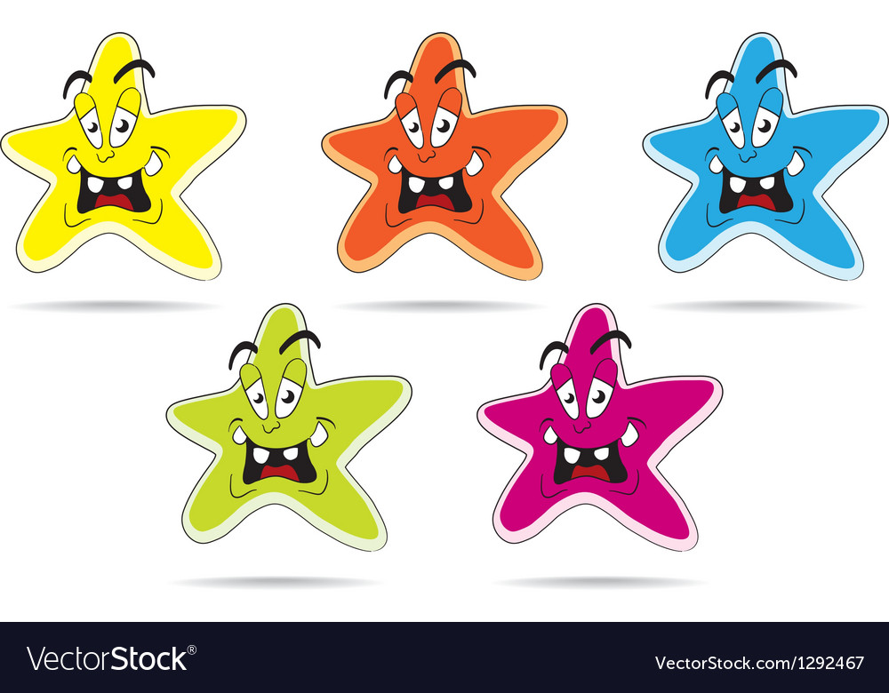 Star cartoon set vector image