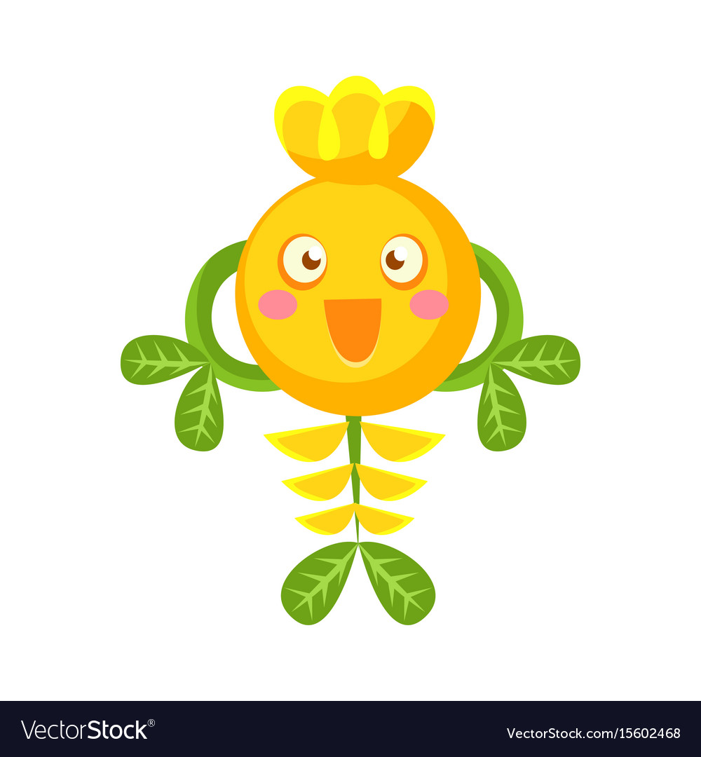 Cute fantastic smiling yellow plant character vector image
