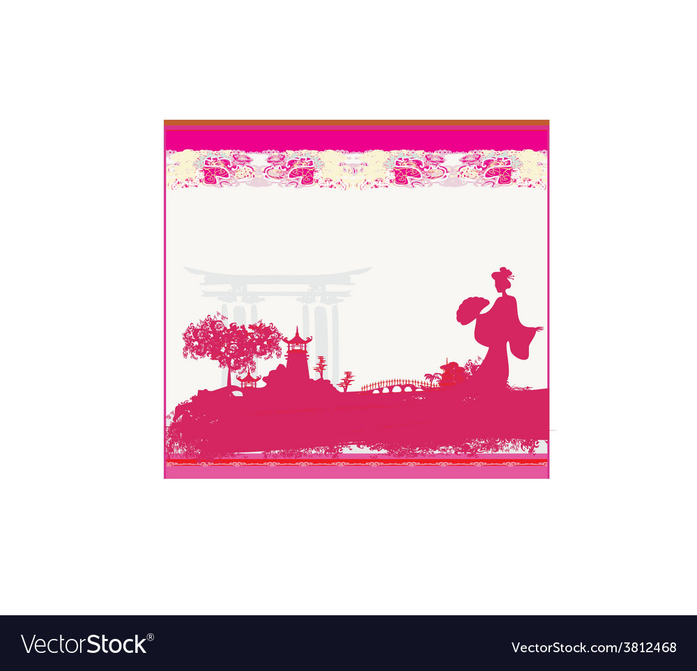 Old paper with geisha silhouette and Asian vector image