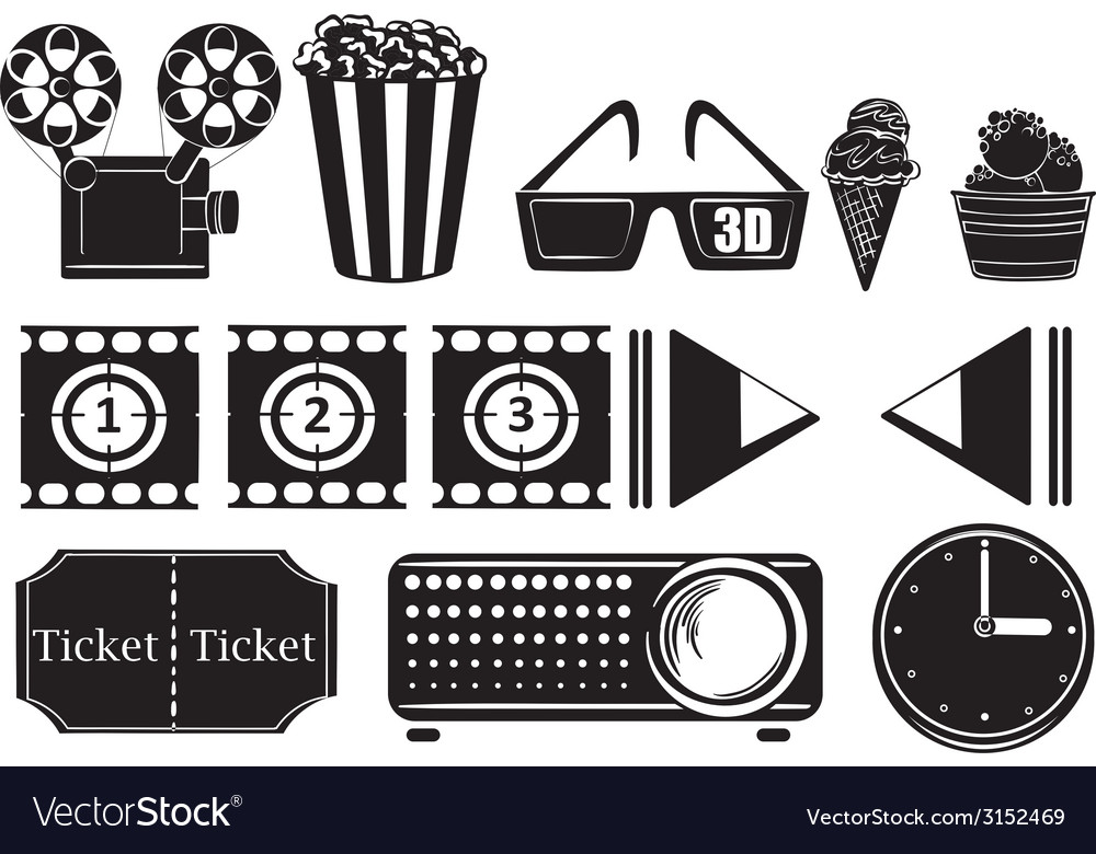 Foods and things for a movie marathon vector image