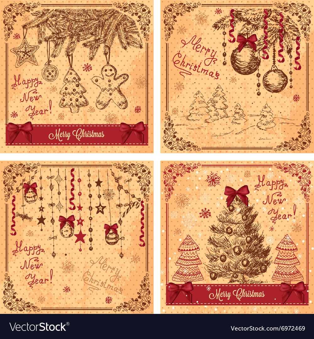 Hand drawn new greeting cards vector image