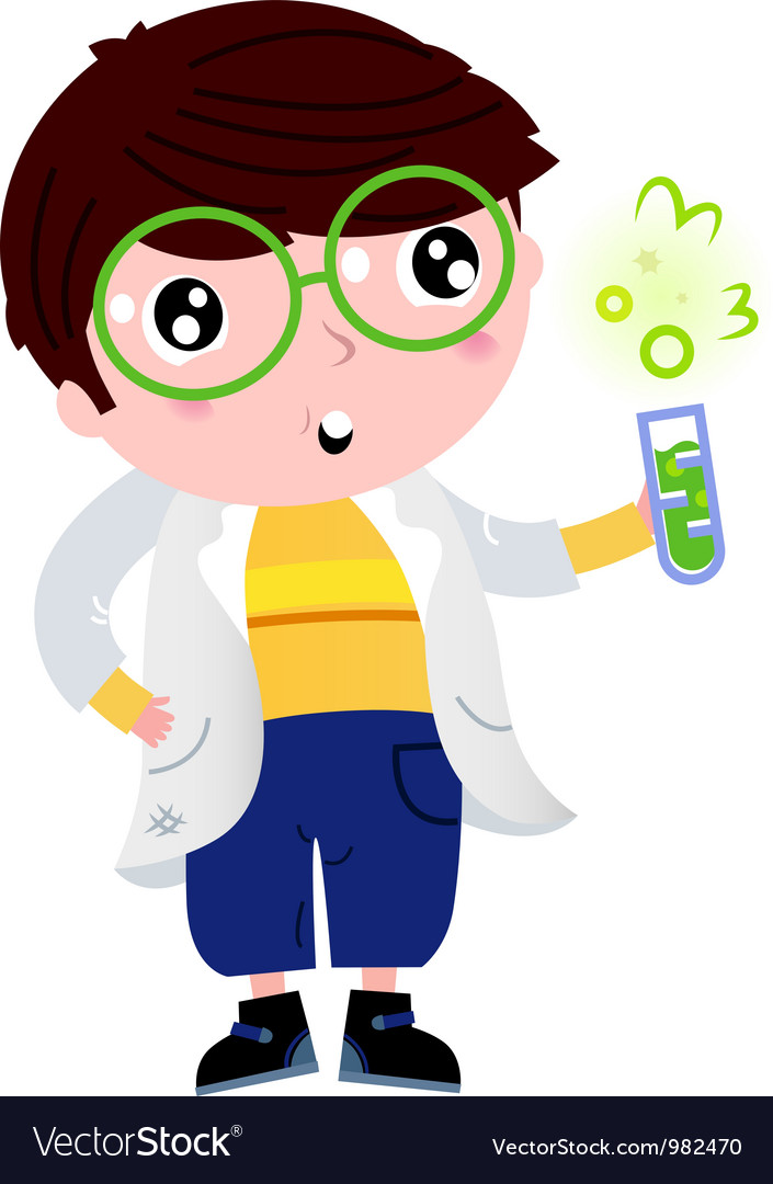 Little scientist holding laboratory flask vector image