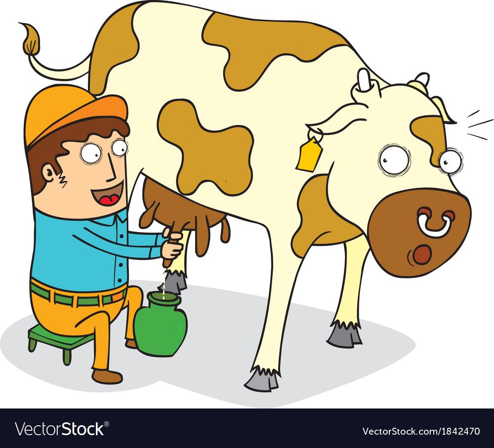 Man milking cow vector image