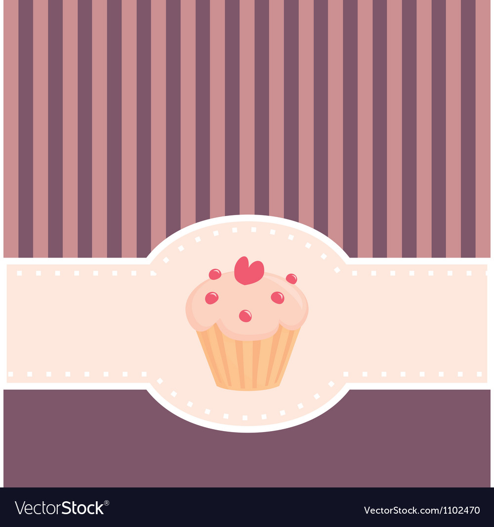 Retro muffin cupcake invitation vector image