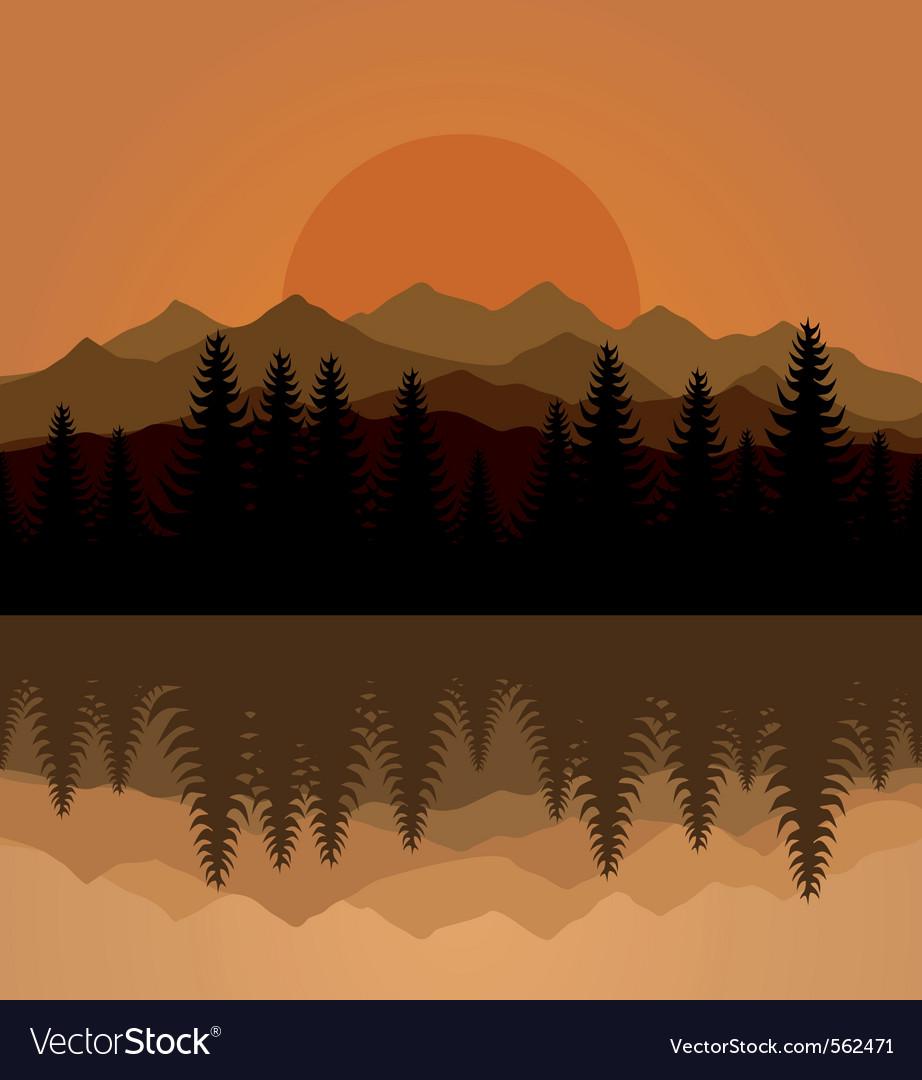 Sunset mountain Vector Image