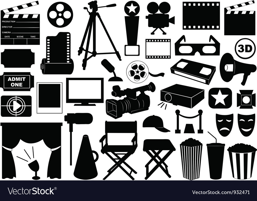 Movie related elements vector image