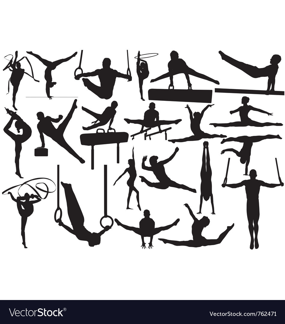 Gymnastic silhouettes vector image